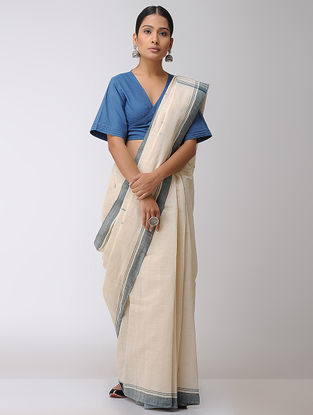 Ivory-Green Natural-dyed Cotton Saree