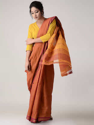 Orange-Yellow Cotton Saree with Zari Border