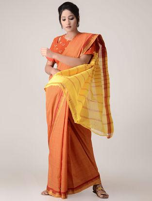 Orange-Yellow Cotton Saree with Zari Border