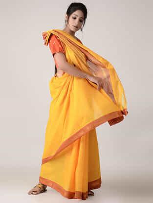 Yellow-Orange Cotton Saree with Zari Border
