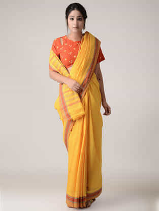 Yellow-Red Cotton Saree with Woven Border