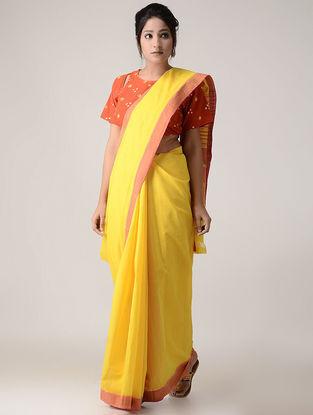 Yellow-Peach Cotton Saree with Zari