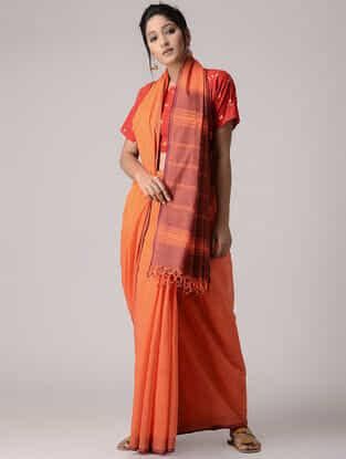 Orange-Red Cotton Saree