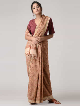 Beige-Red Kalamkari-printed Cotton Saree with Zari Border