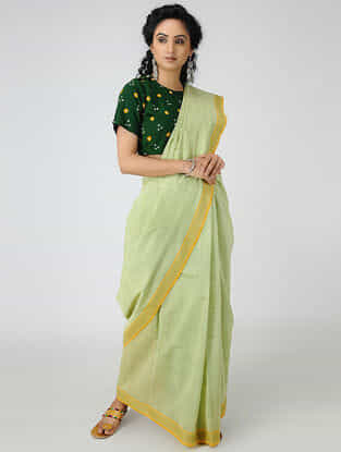 Green-Turquoise Cotton Saree with Woven Border