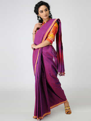 Purple-Red Cotton Saree with Woven Border