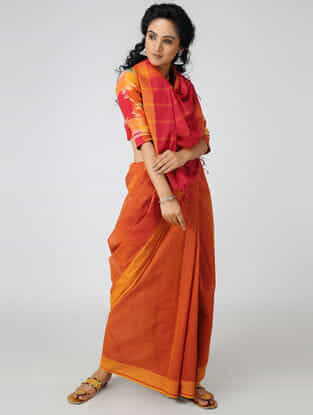 Red-Orange Cotton Saree with Woven Border