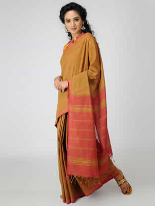 Brown-Pink Cotton Saree with Woven Border