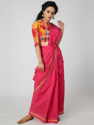 Pink-Yellow Cotton Saree with Woven Border