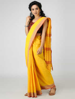 Yellow-Orange Cotton Saree with Woven Border