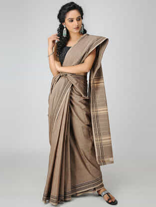 Beige Cotton Saree with Woven Border