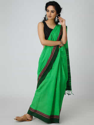 Green-Pink Cotton Saree with Woven Border