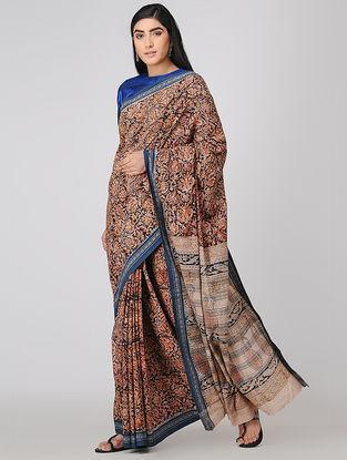 Black-Orange Kalamkari-printed Cotton Saree with Woven Border