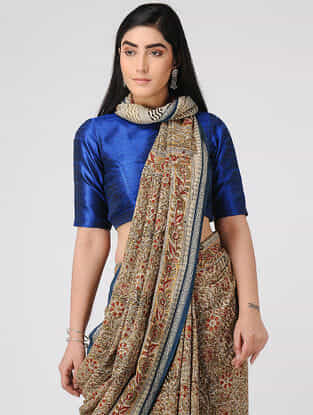 Ivory-Olive Kalamkari-printed Cotton Saree with Woven Border
