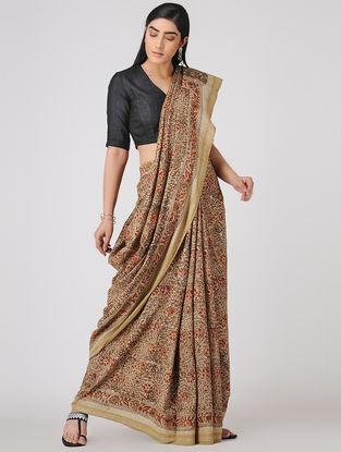 Beige-Olive Kalamkari-printed Cotton Saree with Woven Border