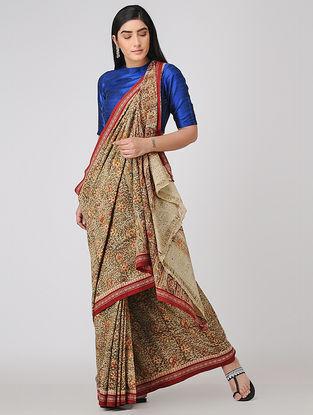 Beige-Red Kalamkari-printed Cotton Saree with Woven Border