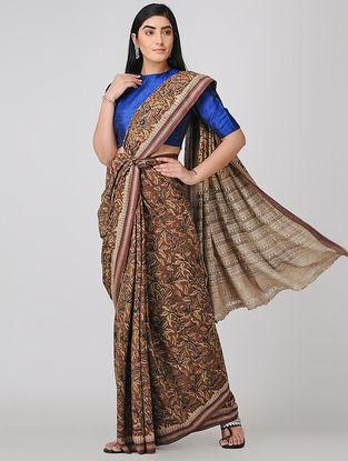 Maroon-Beige Kalamkari-printed Cotton Saree with Woven Border
