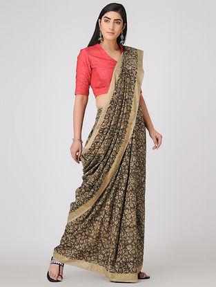 Olive-Beige Kalamkari-printed Cotton Saree with Zari Border