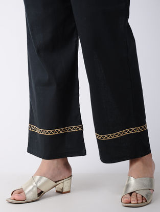 Black Embroidered Cotton Palazzos