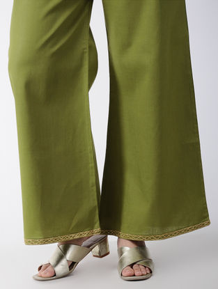 Green Embroidered Cotton Palazzos