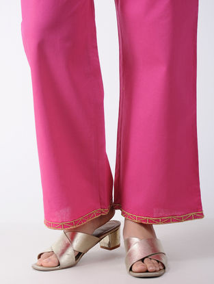 Pink Embroidered Cotton Palazzos