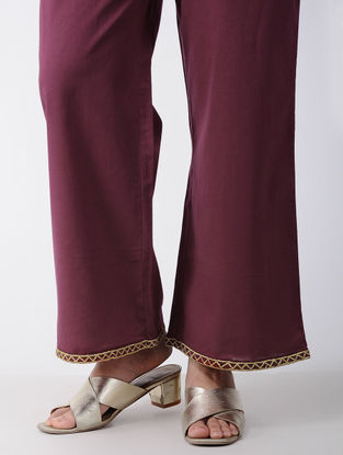 Maroon Embroidered Cotton Palazzos