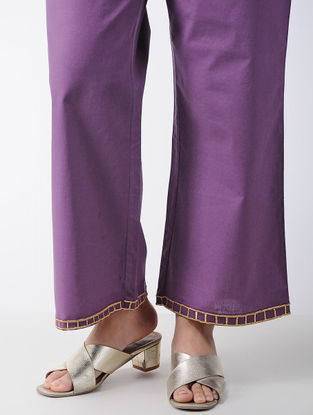 Purple Embroidered Cotton Palazzos