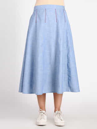 Blue Cotton Denim Skirt