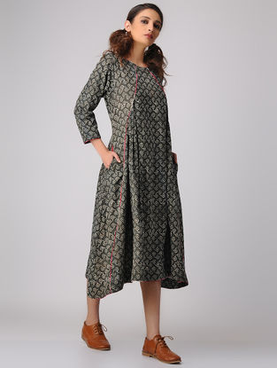 Olive-Beige Dabu-printed Cotton Dress