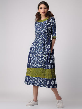 Indigo-Ivory Dabu-printed Gathered Cotton Dress