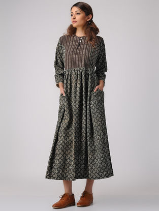 Green-Brown Dabu-printed Gathered Cotton Dress