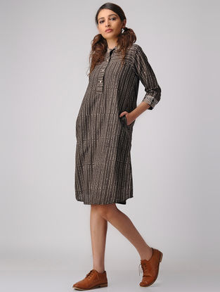 Brown-Beige Dabu-printed Cotton Dress