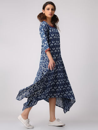 Indigo-Ivory Dabu-printed Cotton Dress with Asymmetrical Hem