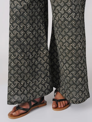 Black Dabu-printed Elasticated Waist Cotton Palazzos