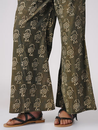 Olive Dabu-printed Elasticated Waist Cotton Palazzos
