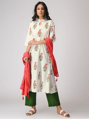 White-Red Block-printed Cotton Mul Kurta