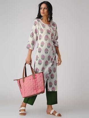 White-Pink Block-printed Cotton Mul Kurta