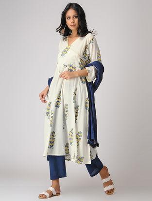 White-Yellow Block-printed Cotton Mul Kurta