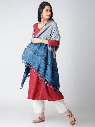 Blue-Ivory Cotton-Tussar Silk Dupatta with Tassels