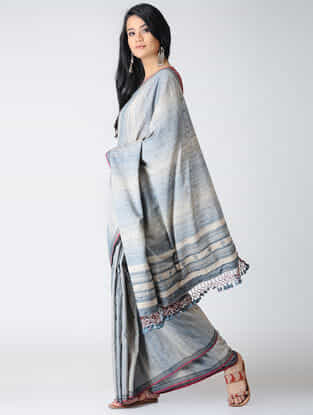 Blue-Ivory Cotton-Tussar Silk Saree with Tassels