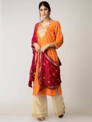 Red Bandhni Chiffon Dupatta with Gotta Work