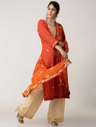 Orange Bandhni Chiffons Dupatta with Gotta Work