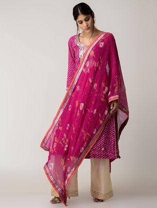 Pink Bandhni Chiffons Dupatta with Gotta Work