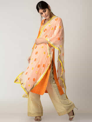 Beige-Yellow Bandhni Chiffons Dupatta with Gotta Work