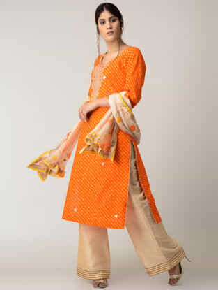 Orange Lehriya Cotton Kurta with Gotta Patti