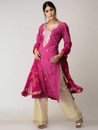Pink Lehriya Cotton Kurta with Gotta Patti