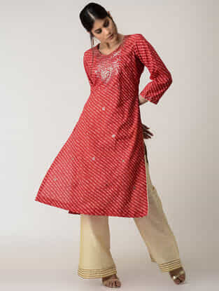Red Lehriya Cotton Kurta with Gotta Patti