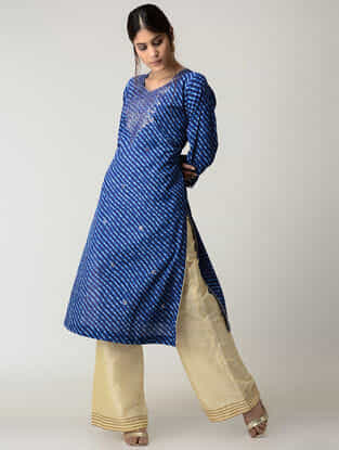 Blue Lehriya Cotton Kurta with Gotta Patti