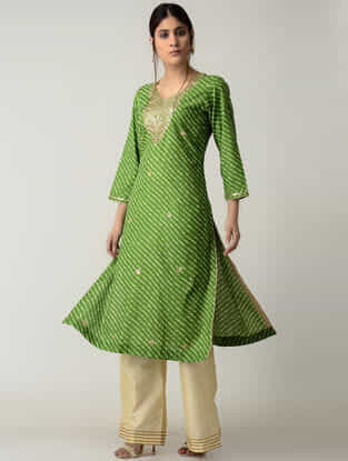 Green Lehriya Cotton Kurta with Gotta Patti