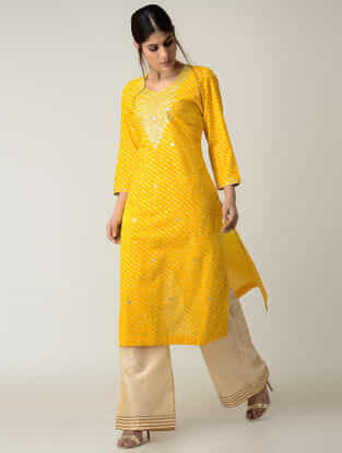 Yellow Lehriya Cotton Kurta with Gotta Patti